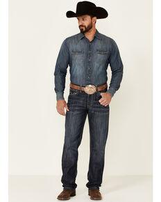 Rock & Roll Denim Men's Double Barrel Dark Wash Relaxed Stackable Bootcut Jeans , Blue, hi-res