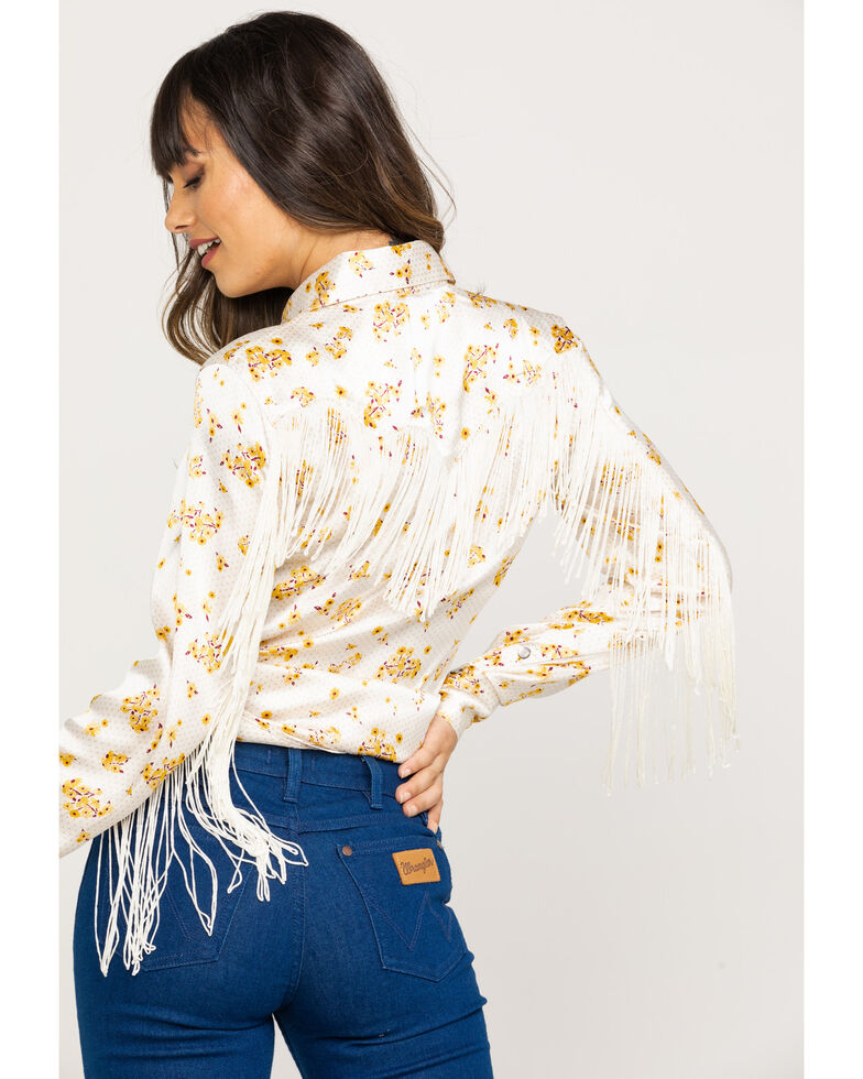Rock & Roll Cowgirl Women's Ivory Floral Fringe Long Sleeve Rodeo Shirt , Natural, hi-res