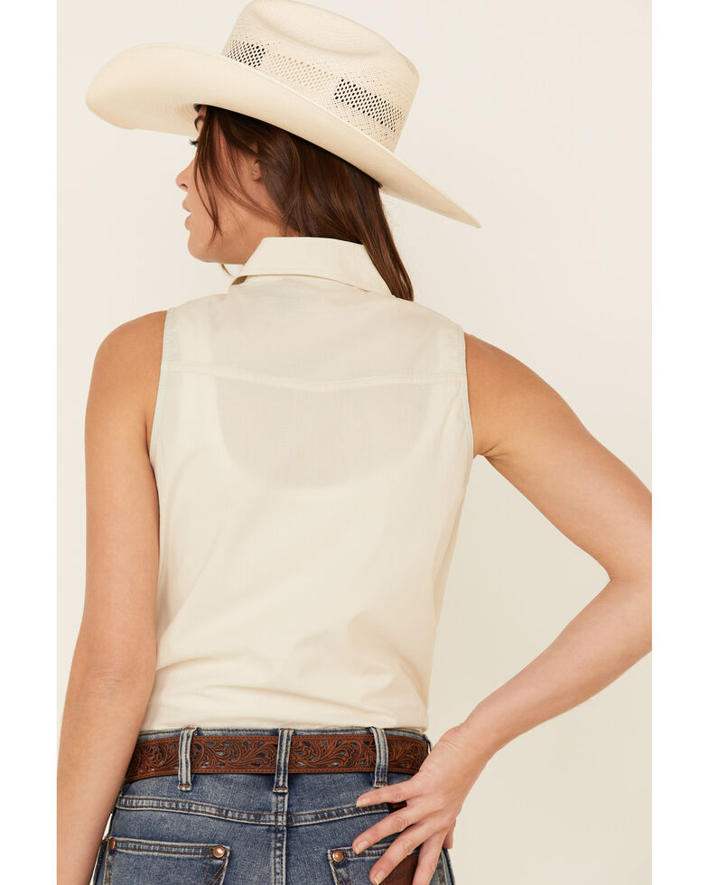 Dale Brisby Women's Bucking Horse Sleeveless Western Shirt , Ivory, hi-res