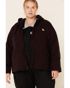 Carhartt Women's Deep Wine Washed Duck Sherpa-Lined Jacket - Plus, Wine, hi-res