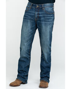 Rock & Roll Cowboy Men's Small V Reflex Double Barrel Boot Jeans , Blue, hi-res
