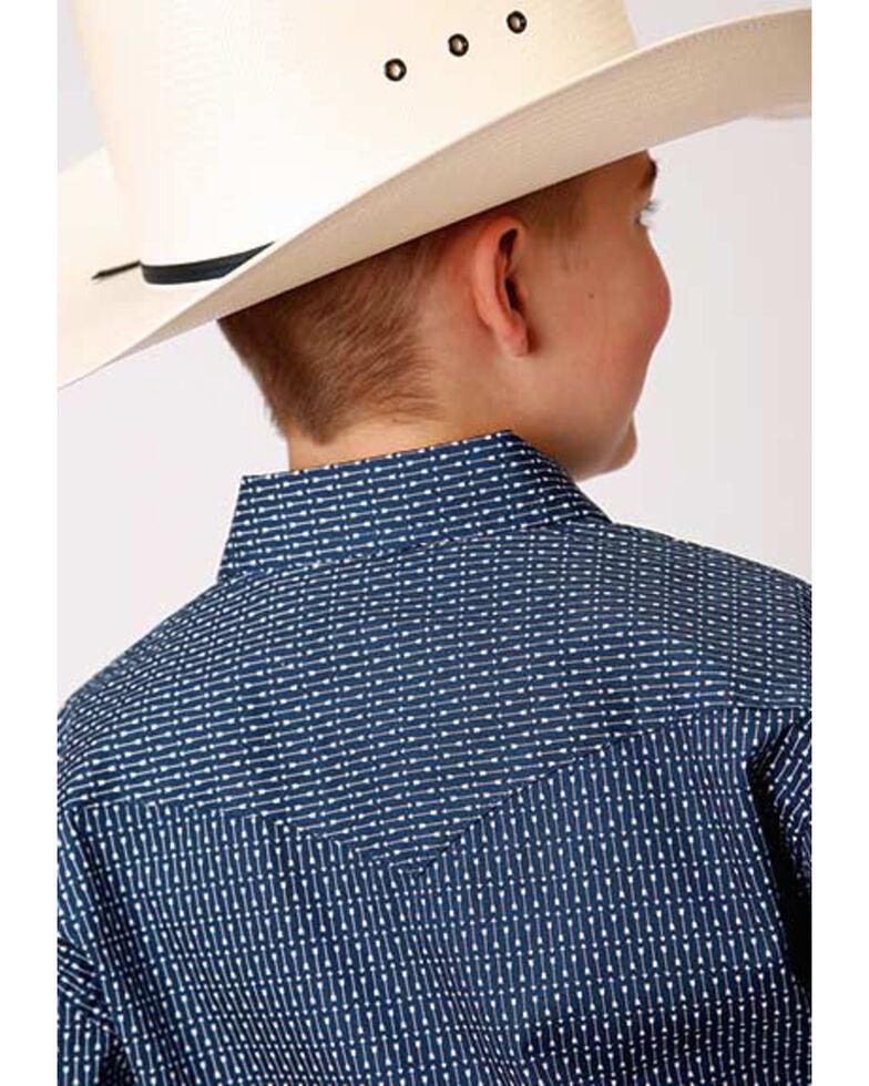 Roper Boys' Straight Arrow Print Long Sleeve Snap Western Shirt , Navy, hi-res