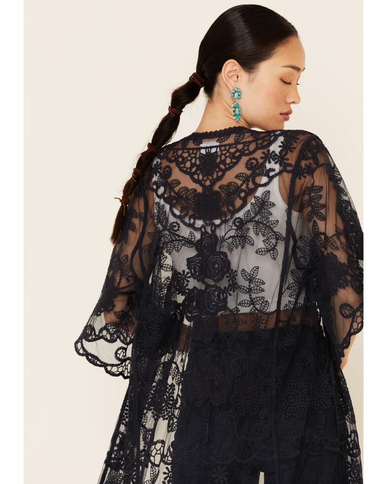 Shyanne Women's Lace Duster Kimono, Navy, hi-res