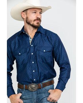 Resistol Men's Z Geo Print Long Sleeve Western Shirt , Navy, hi-res