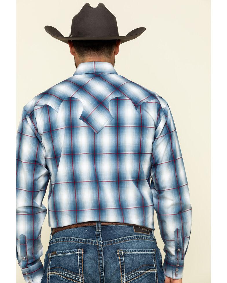 Stetson Men's Indigo Large Ombre Plaid Long Sleeve Western Shirt , Blue, hi-res