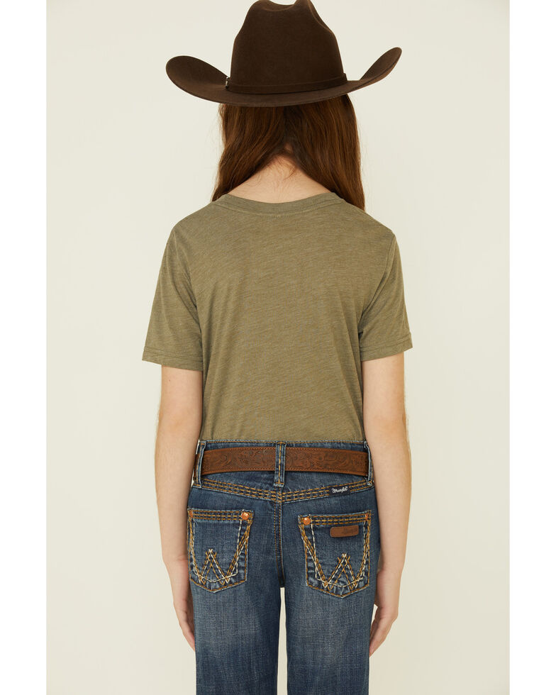 Rodeo Quincy Girls' Olive Bronco Billie Graphic Short Sleeve Tee , Olive, hi-res