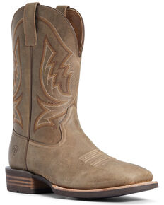 Ariat Men's Hardy Western Boots - Wide Square Toe, Brown, hi-res
