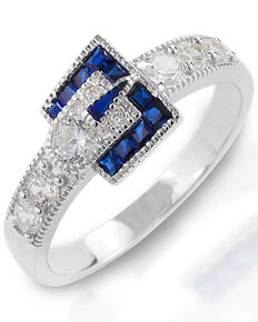 Kelly Herd Women's Blue Spinel Buckle Ring , Silver, hi-res