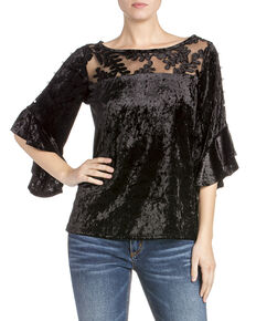 Miss Me Women's Velvet Ruffle Long Sleeve Top, Black, hi-res