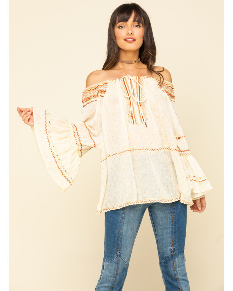 Free People Women's Talia Embroidered Blouse, Ivory, hi-res