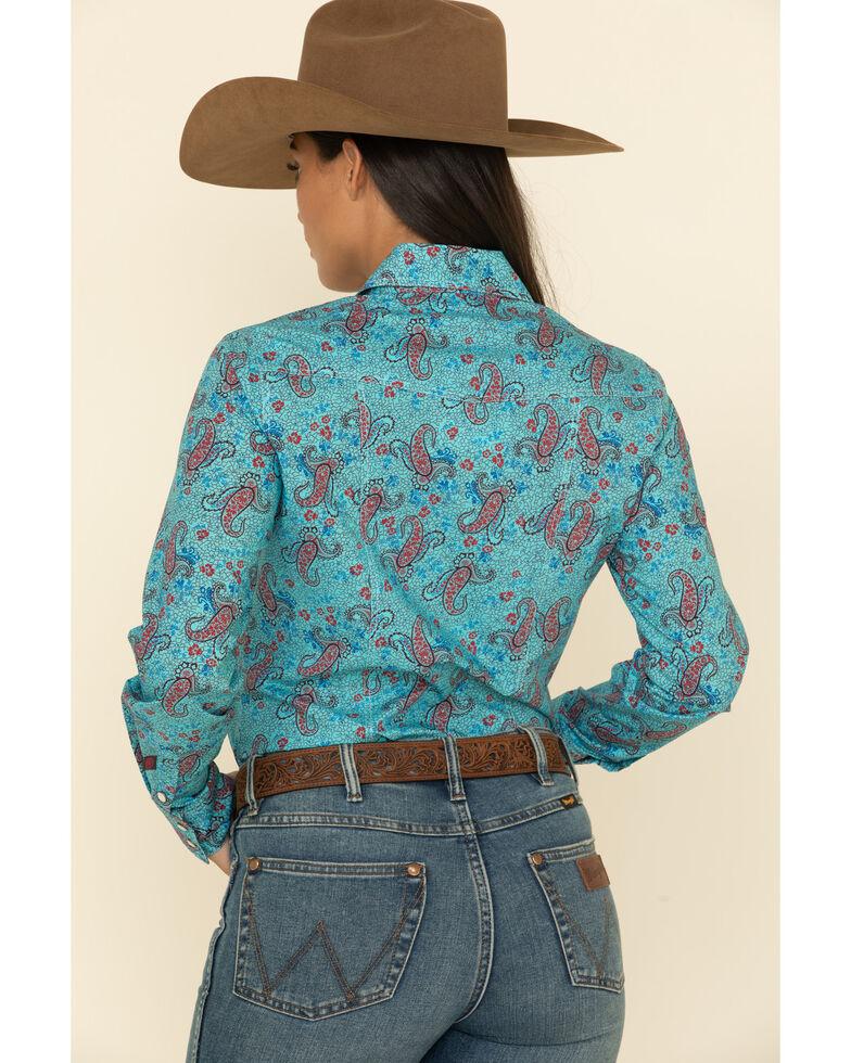 Rock & Roll Denim Women's Teal Paisley Print Long Sleeve Western Shirt  , Teal, hi-res
