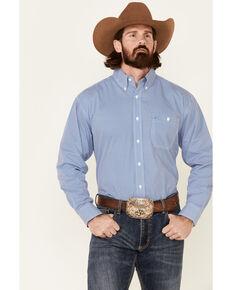 George Strait By Wrangler Men's Cobalt Geo Print Long Sleeve Button-Down Western Shirt - Big & Tall, Blue, hi-res
