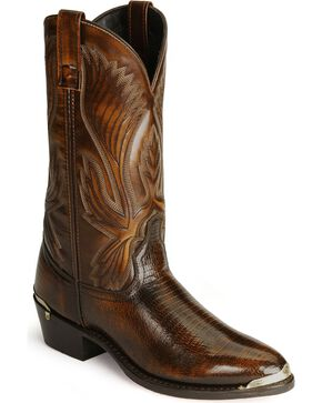 Laredo Men's New York Lizard Print Cowboy Boots - Medium Toe, Cognac, hi-res