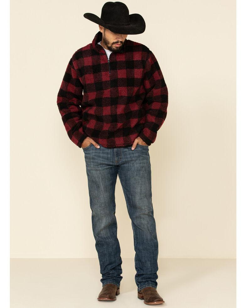 Wrangler Men's Red Sherpa Plaid 1/4 Zip Pullover Sweatshirt , Red, hi-res