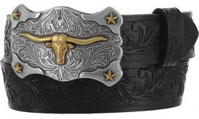 Tony Lama Boys' Black Little Texas Belt and Buckle , Black, hi-res
