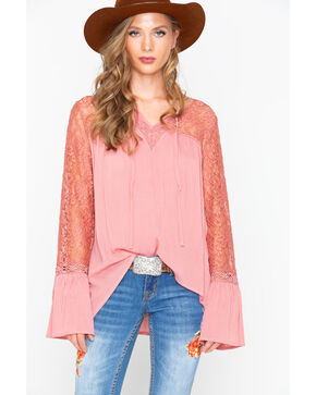 Wrangler Women's Rose Lace Sleeve Peasant Top , Mauve, hi-res