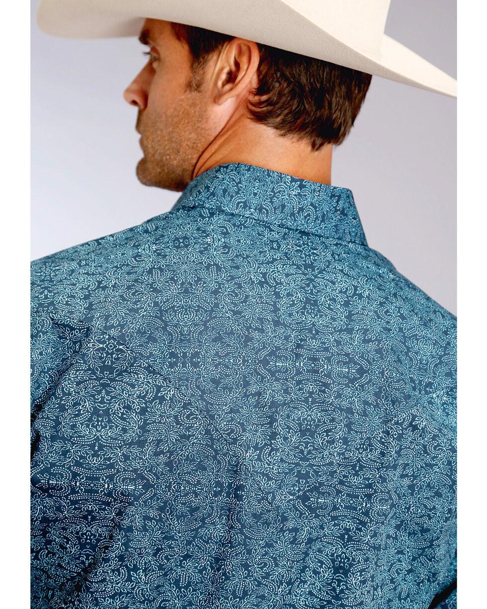 Stetson Men's Blue Print Long Sleeve Snap Shirt, Blue, hi-res