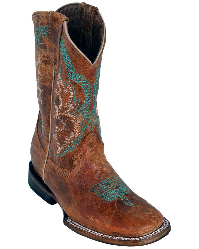 Ferrini Youth Boys' Antique Cowhide Western Boots - Square Toe, Brown, hi-res