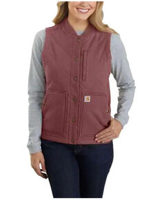 Carhartt Women's Raisin Rugged Flex Canvas Rib Collar Vest , Purple, hi-res