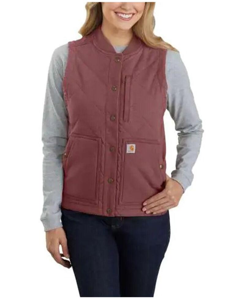 Carhartt Women's Raisin Rugged Flex Canvas Rib Collar Vest , Purple, hi-res