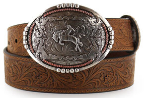 Cody James Men's Bronc Buckle Tooled Leather Belt, Tan, hi-res