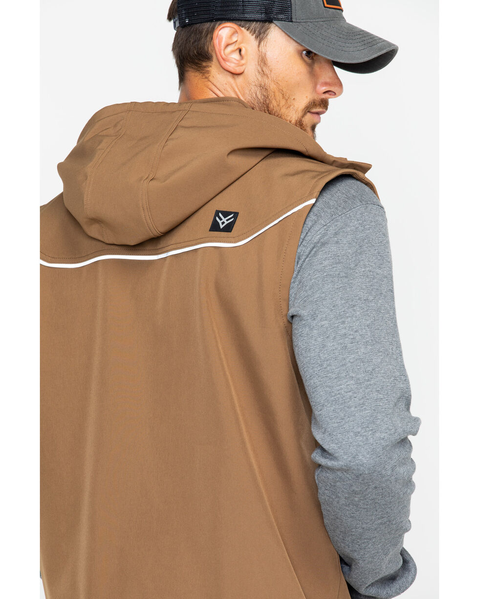 Hawx® Men's Hooded Soft-Shell Work Vest , Brown, hi-res