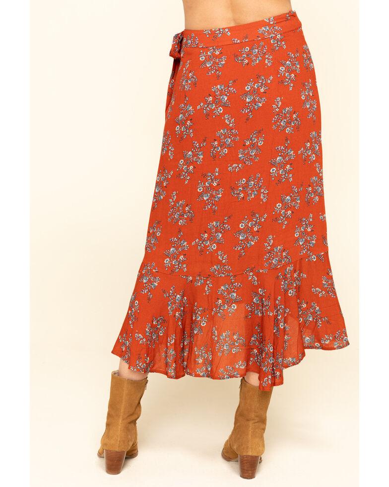 Nikki Erin Women's Rust Floral Wrap Ruffle Skirt , Rust Copper, hi-res