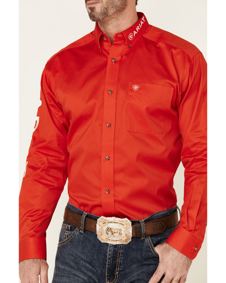 Ariat Men's Red Team Logo Twill Long Sleeve Button-Front Western Shirt , Red, hi-res