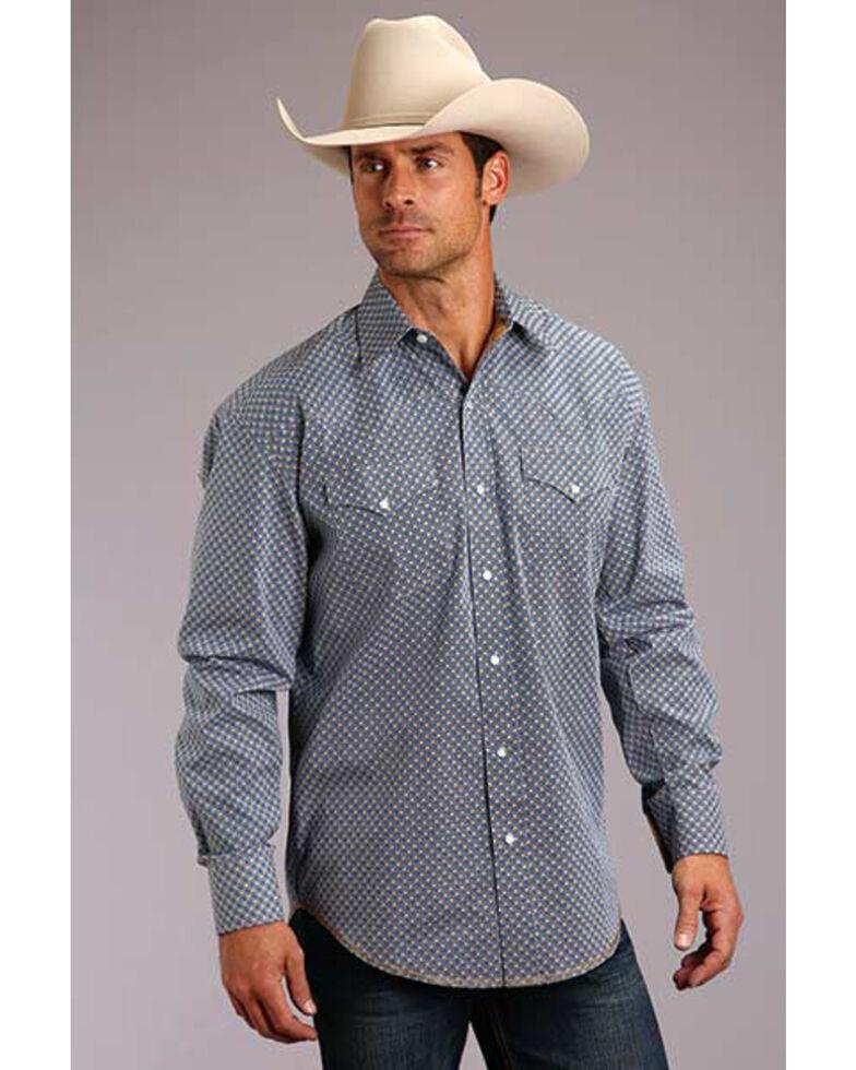 Stetson Men's Indigo Small Geo Print Long Sleeve Western Shirt , Blue, hi-res