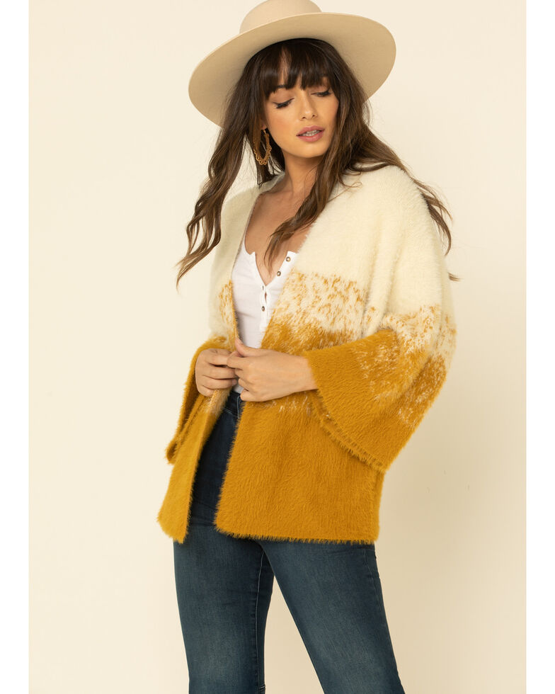 Mystree Women's Ivory Mustard Ombre Open Front Cardigan , Dark Yellow, hi-res