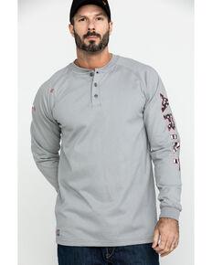 Ariat Men's Silver FR Liberty Logo Long Sleeve Work Shirt , Silver, hi-res