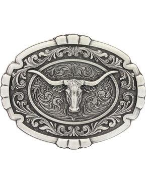 Montana Silversmiths Men's Silver Longhorn Cameo Belt Buckle , Silver, hi-res
