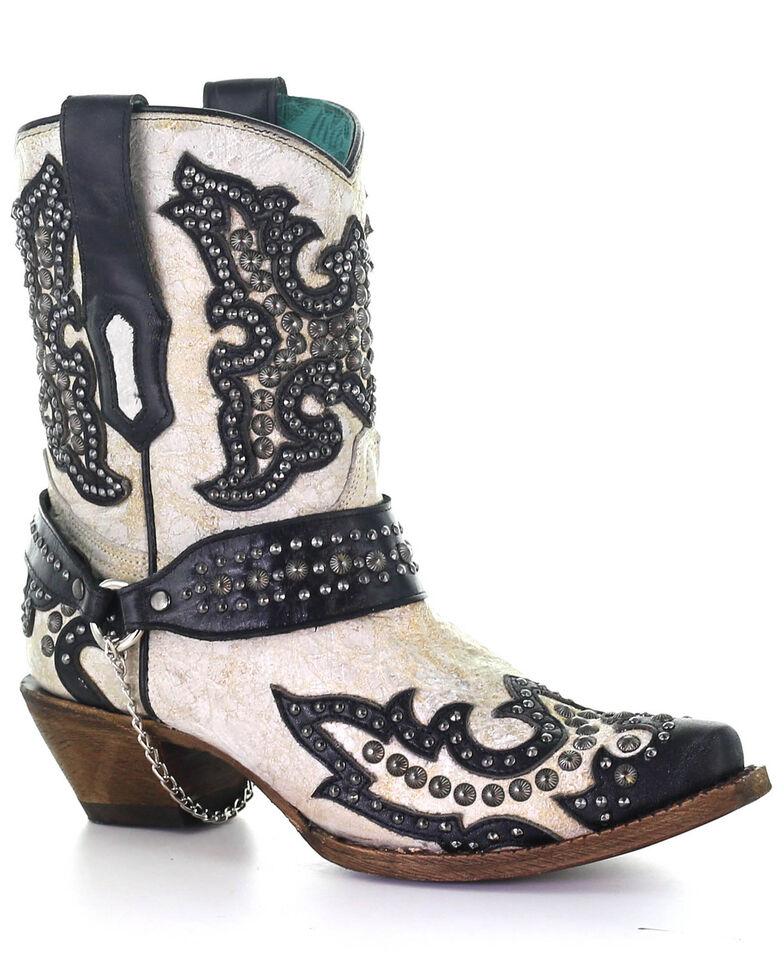 Corral Women's White Studs Western Boots - Snip Toe, Black/white, hi-res