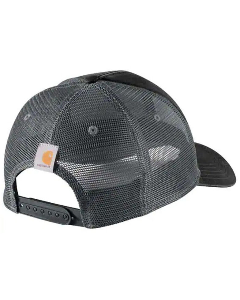 Carhartt Men's Quality Goods Logo Patch Canvas Mesh-Back Trucker Cap , Black, hi-res