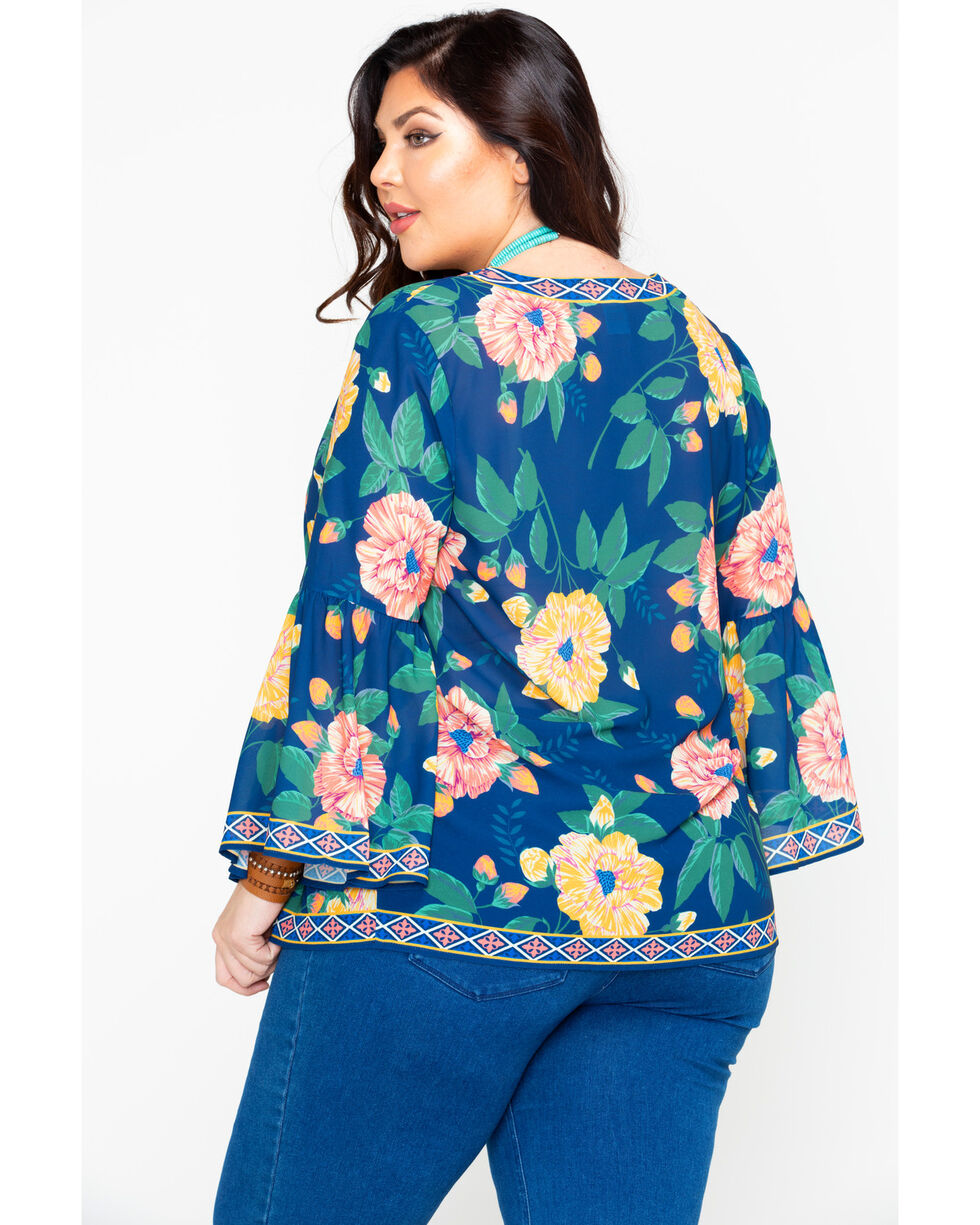 Flying Tomato Women's Floral Print V-Neck Blouse - Plus , Navy, hi-res