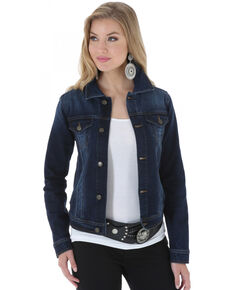 Wrangler Women's Denim Button Front Jacket , Denim, hi-res