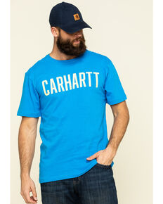 Carhartt Men's Bolt Blue Solid Graphic Heavyweight Relaxed Short Sleeve Work T-Shirt , Blue, hi-res