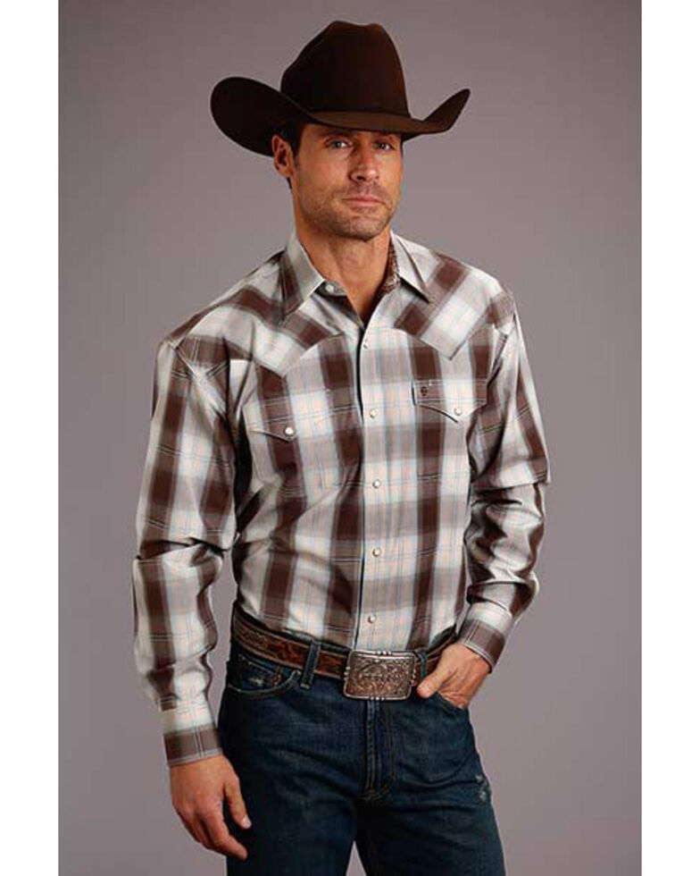 Stetson Men's Brown Ombre Plaid Long Sleeve Western Shirt , Brown, hi-res