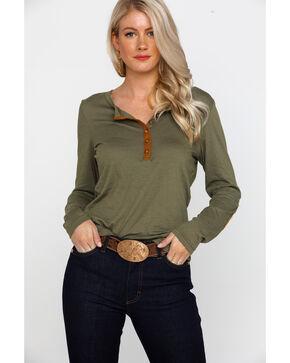 Ariat Women's Mill Button Front Long Sleeve Raglan Shirt , Olive, hi-res