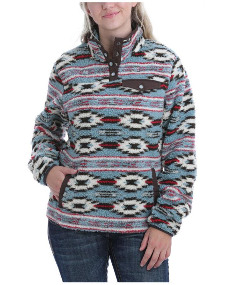 Cinch Women's Blue Aztec Printed Fleece Pullover, , hi-res