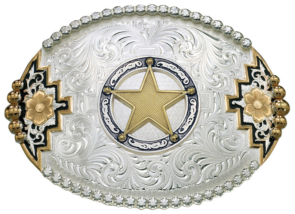 Montana Silversmiths Southwest Accent Round Star Concho Belt Buckle, Multi, hi-res