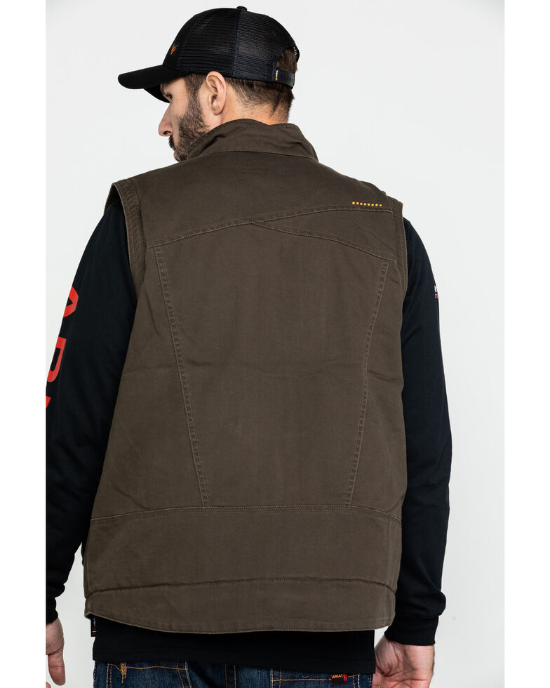 Ariat Men's Loden Rebar Washed Dura Canvas Insulated Work Vest - Big & Tall , Loden, hi-res