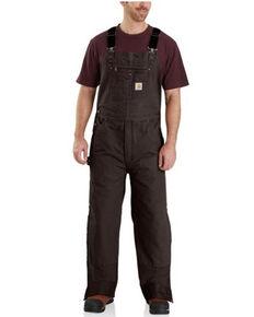 Carhartt Men's Brown Quilt Lined Washed Bib Work Overalls , Brown, hi-res
