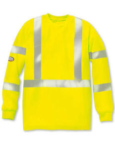 Rasco Men's FR Yellow Hi-Vis Segmented Trim Long Sleeve Work Shirt , Yellow, hi-res