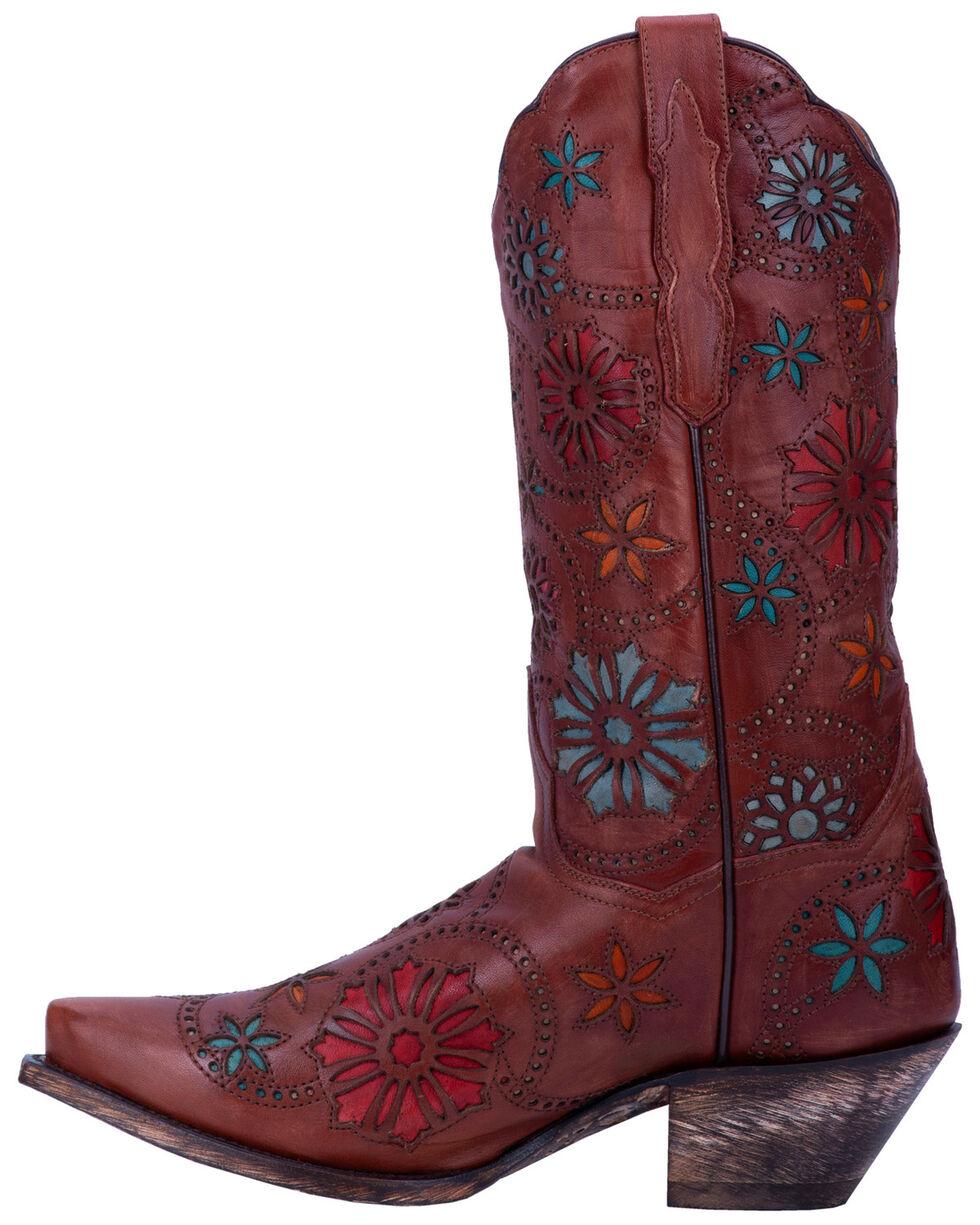 Dan Post Women's Meria Flower Inlay Western Boots - Snip Toe, Chestnut, hi-res
