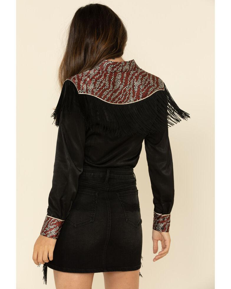 Idyllwind Women's Stampede Fringe Western Long Sleeve Top , Black, hi-res