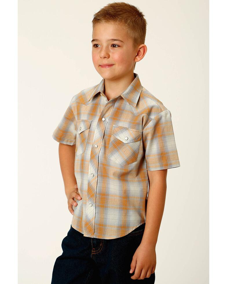Roper Boys' Classic Grey Plaid Short Sleeve Snap Western Shirt , Grey, hi-res