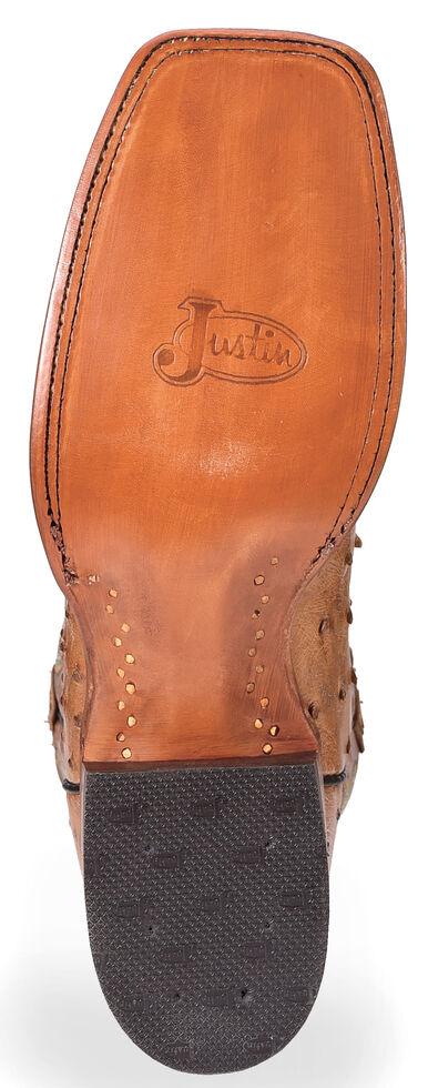 Justin Men's Cognac Waxy Full Quill Ostrich Cowboy Boots - Wide Square Toe , Cognac, hi-res