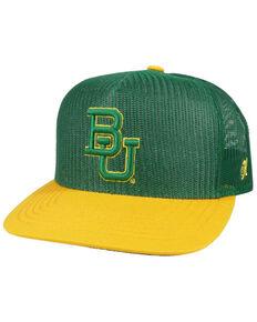 HOOey Men's Green & Yellow Baylor University Embroidered Logo Mesh Trucker Cap , Green, hi-res