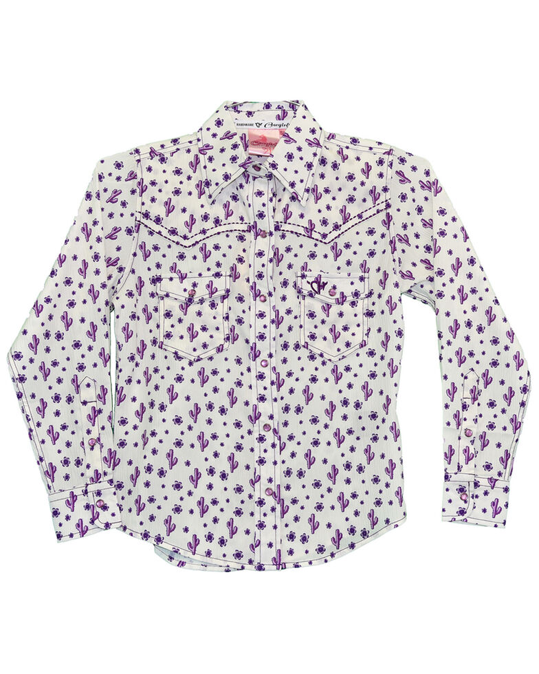 Cowgirl Hardware Girls' Cactus Print Long Sleeve Western Shirt , Purple, hi-res